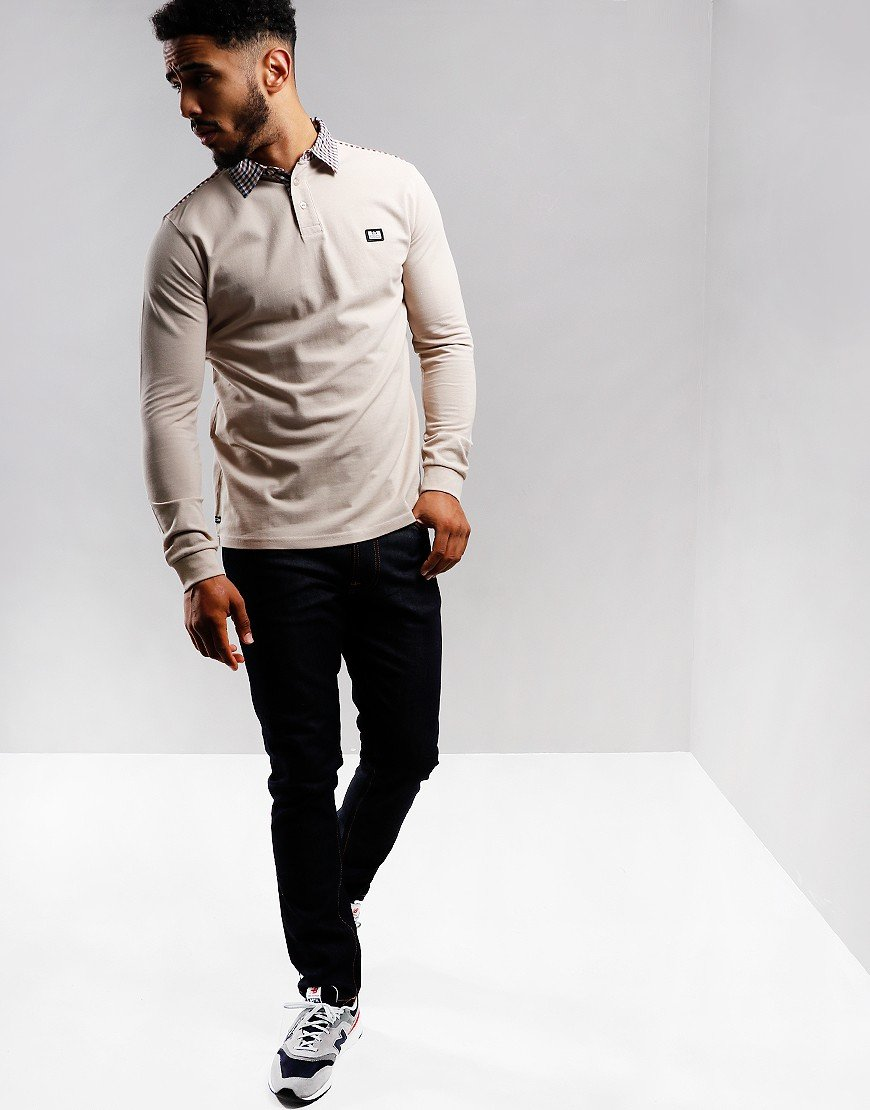 Weekend Offender Jasper Long Sleeve Polo Shirt Sand