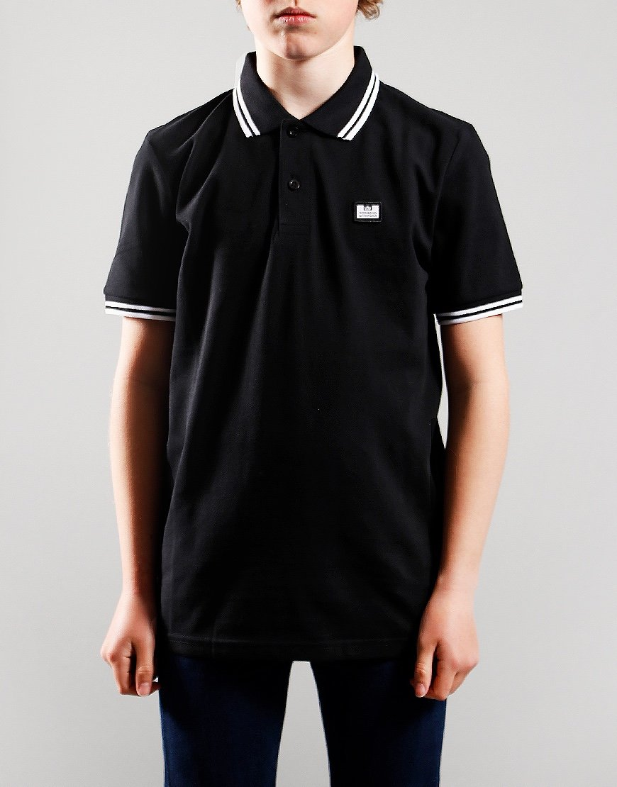 Weekend Offender Kids Ammorite Tip Polo Shirt Black/White/White