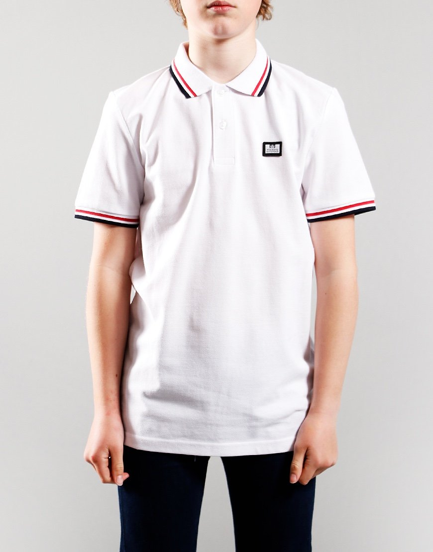 Weekend Offender Kids Ammorite Tip Polo Shirt White/Navy/Red