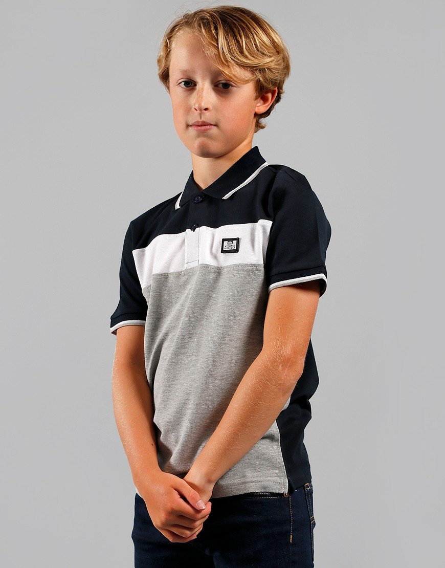 Weekend Offender Kids Beadie Polo Shirt Grey Marl