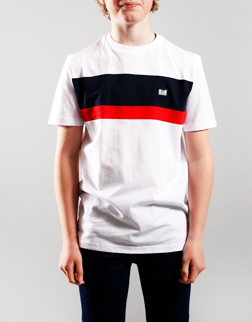 Weekend Offender Kids Crossword T-Shirt White/Red/Navy