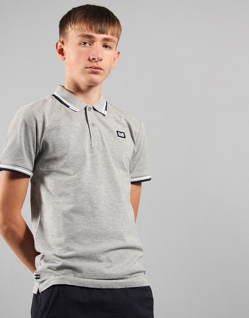Weekend Offender Kids Polo Shirt Grey Marl
