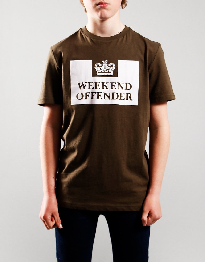 Weekend Offender Kids Prison T-Shirt Dark Army/White