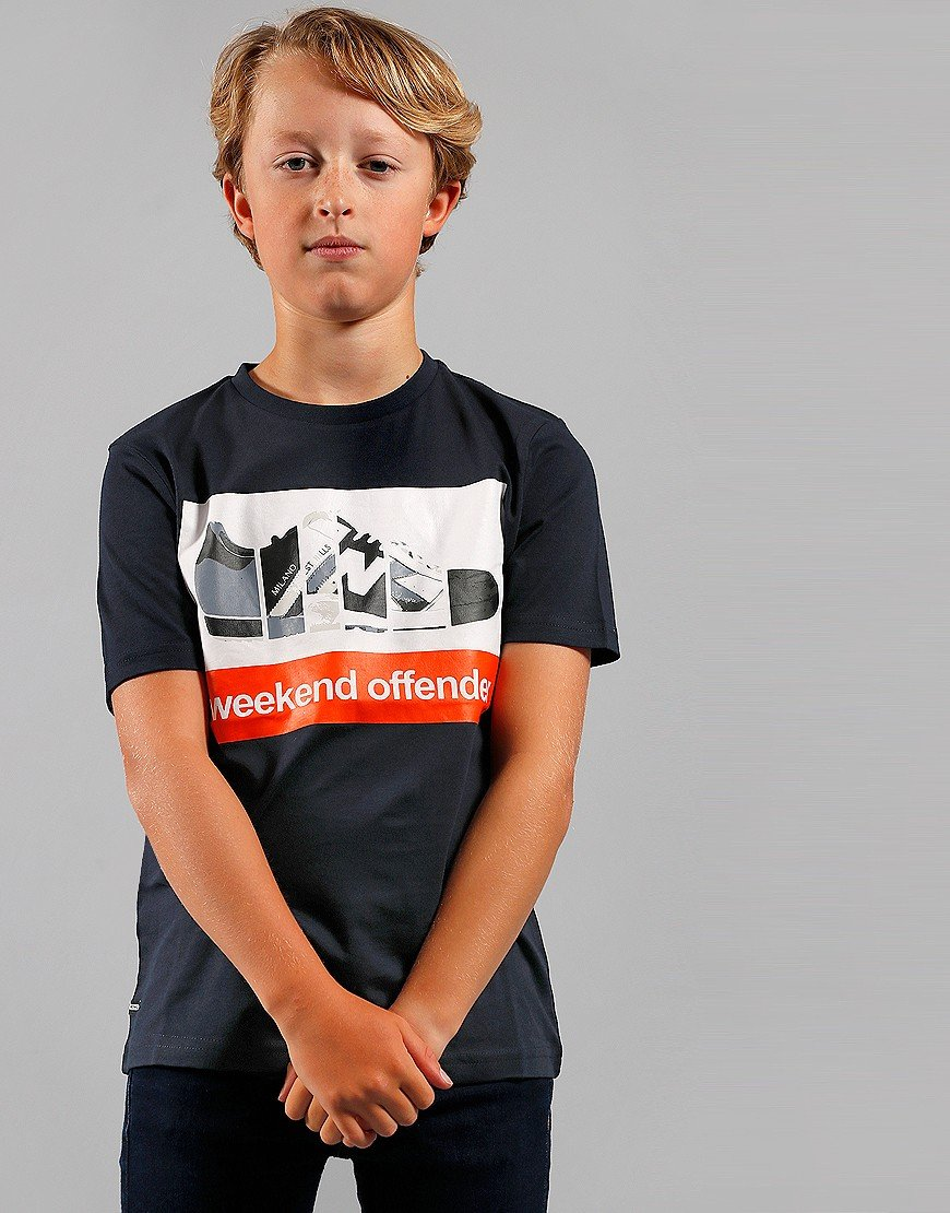 Weekend Offender Kids Trainerspotting T-Shirt Navy