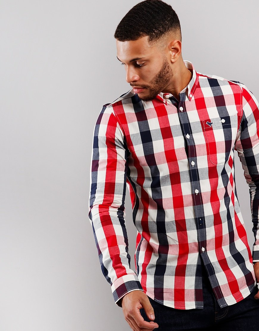 Weekend Offender Liam Check Long Sleeve Shirt Red