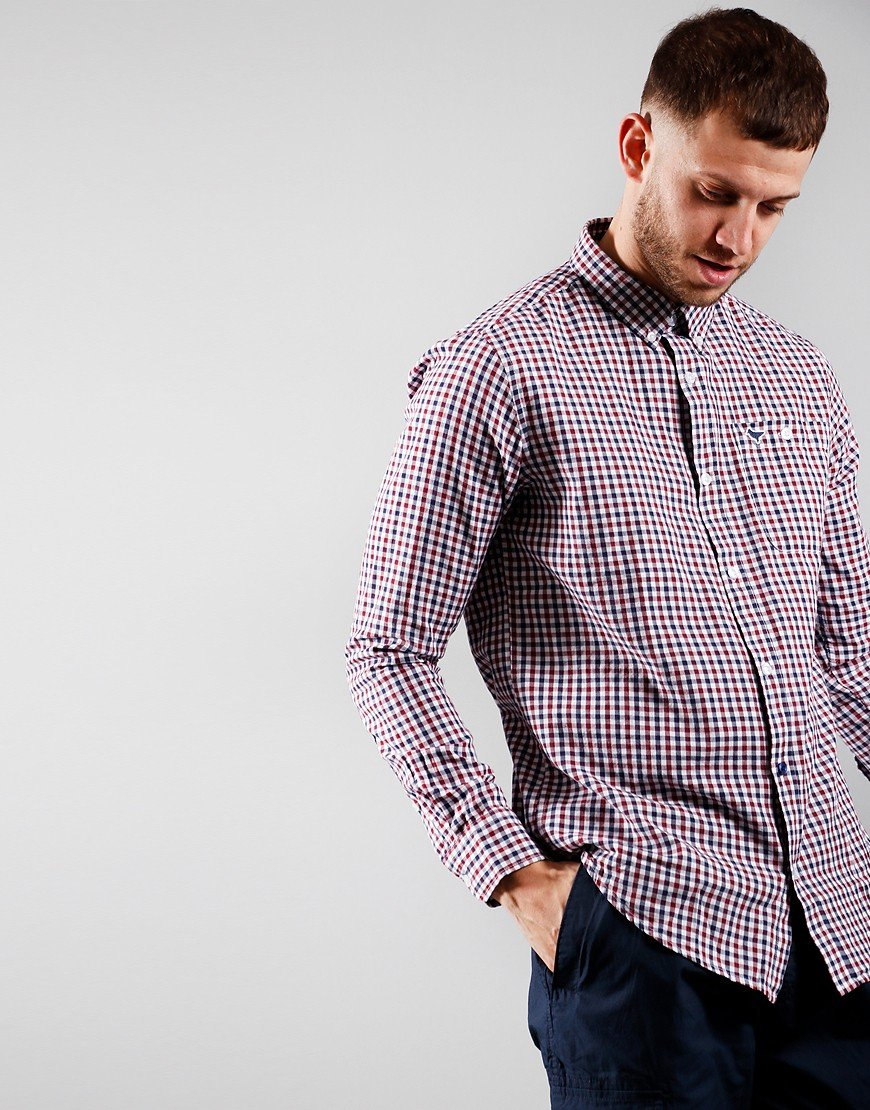 Weekend Offender Check Shirt Burgundy