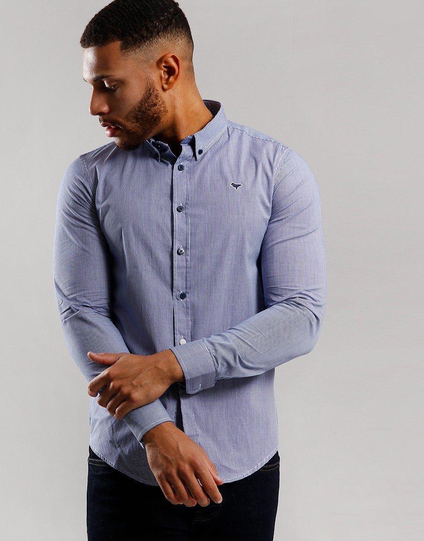 Weekend Offender Murphy Shirt Royal Micro Check