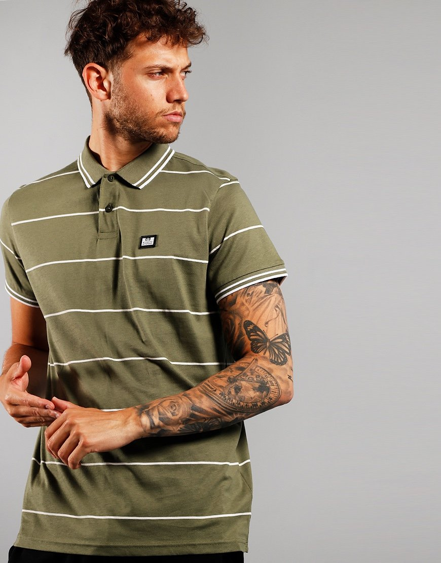 Weekend Offender Nelson Polo Shirt Dark Army