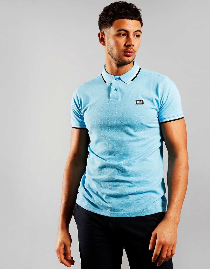 Weekend Offender Peaky Polo Shirt Turquoise