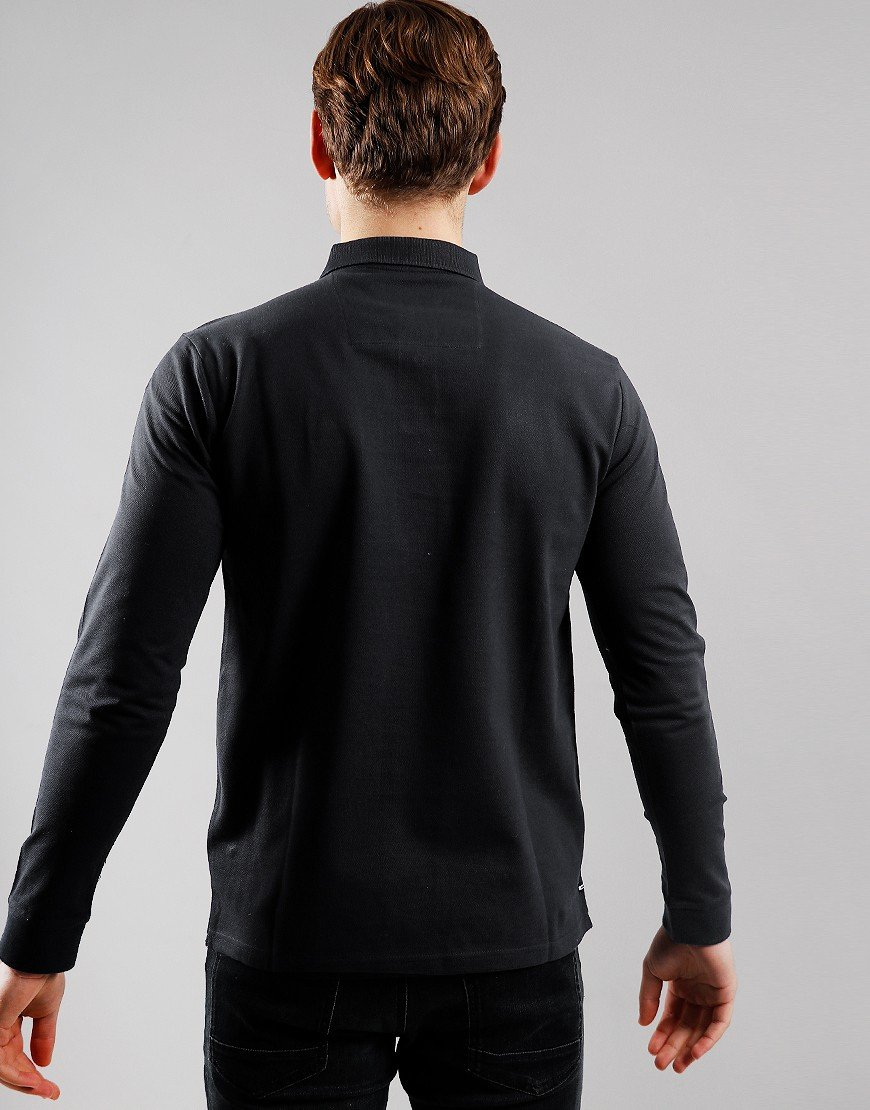 Weekend Offender Sandoval Long Sleeve Polo Shirt Black