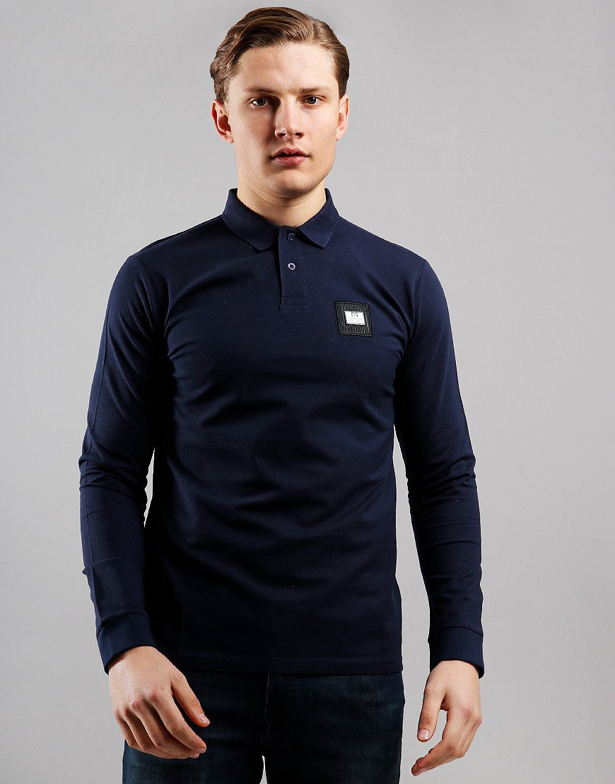 Weekend Offender Sandoval Long Sleeve Polo Shirt Navy
