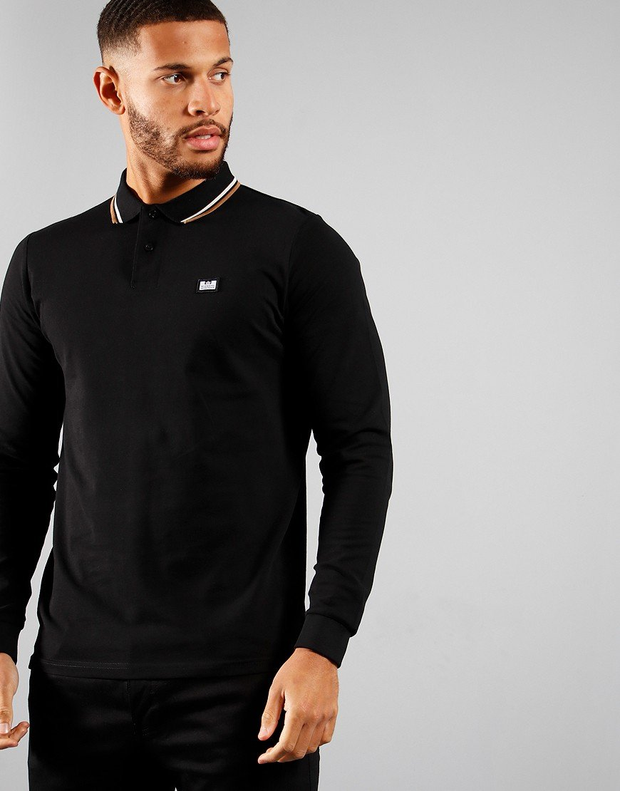 Weekend Offender Scooterman Long Sleeve Polo Black