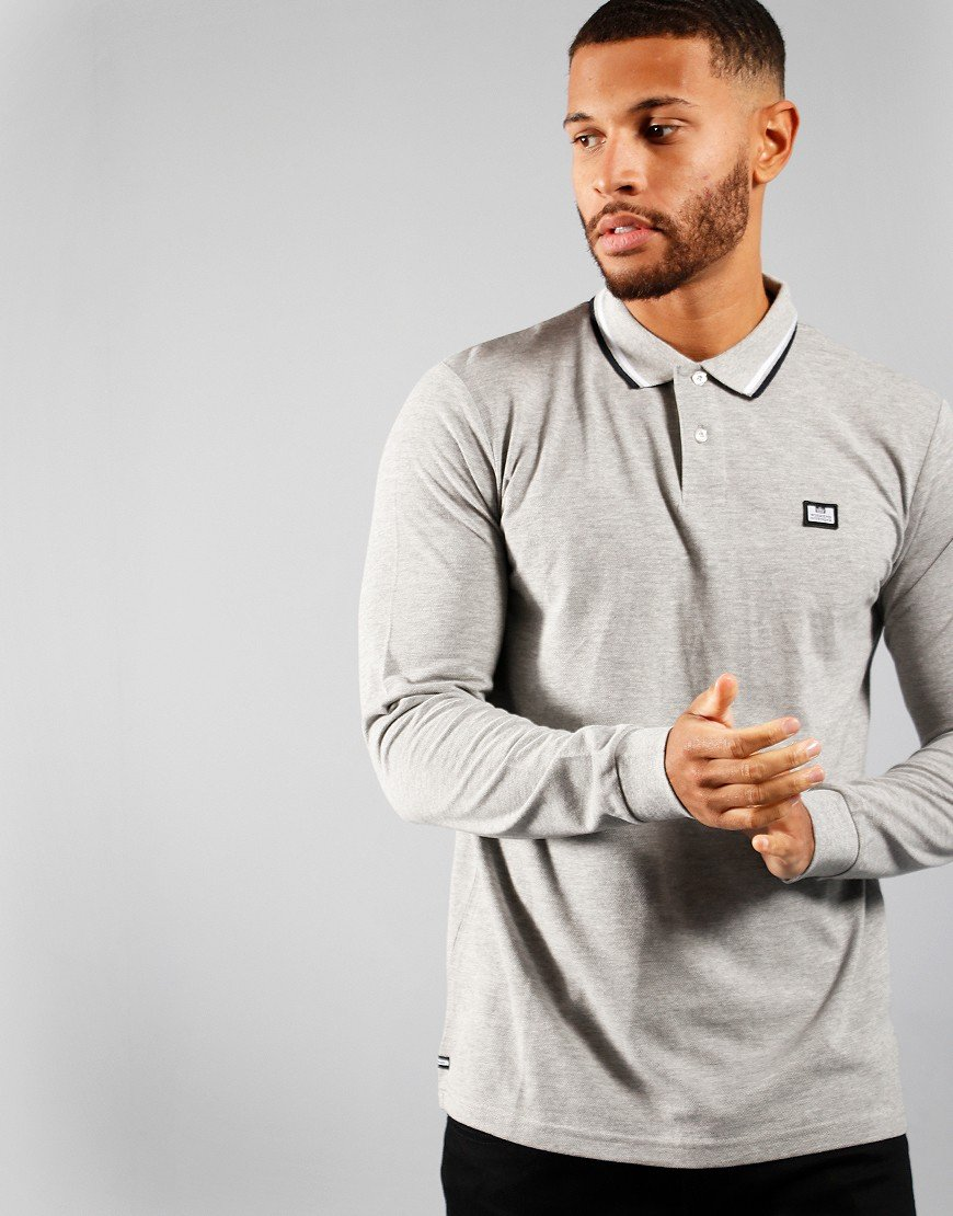 Weekend Offender Scooterman Long Sleeve Polo Grey