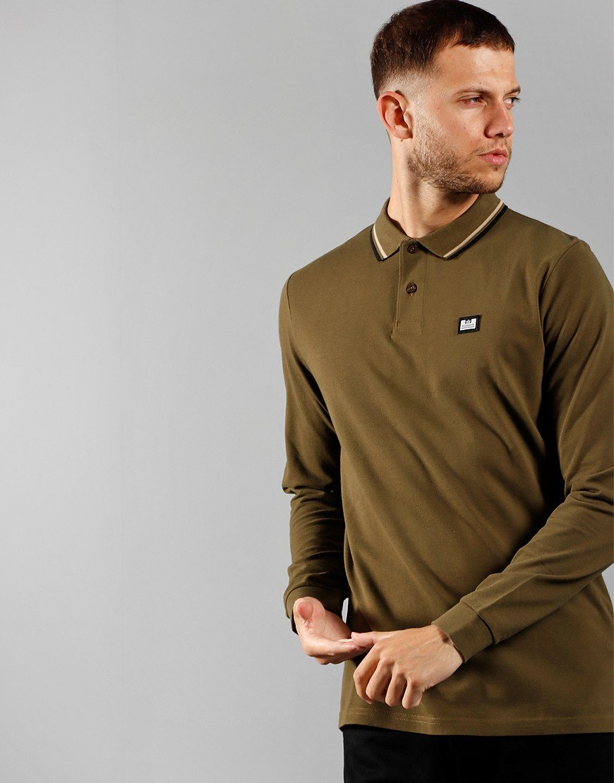 Weekend Offender Scooterman Long Sleeve Polo Hunting Green