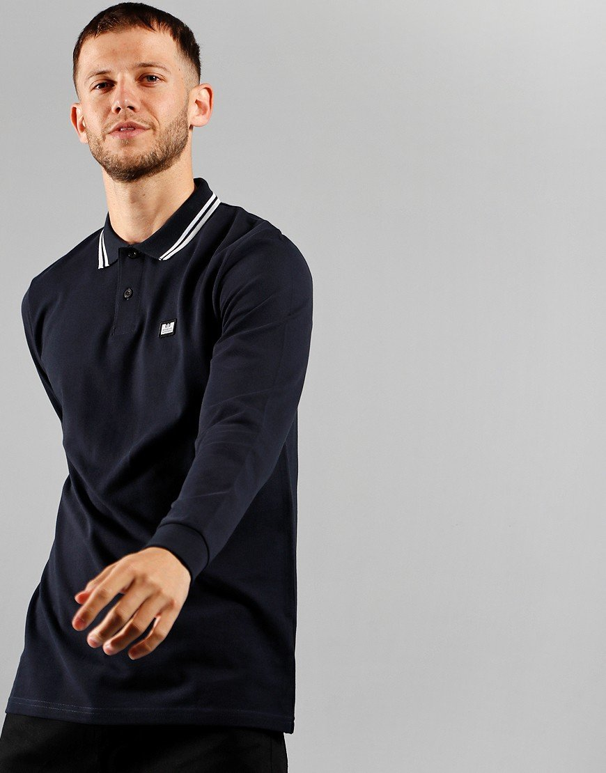 Weekend Offender Scooterman Long Sleeve Polo Navy