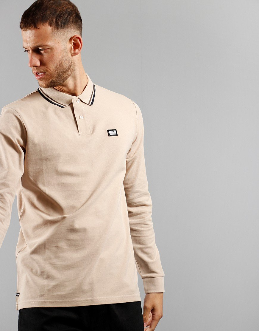 Weekend Offender Scooterman Long Sleeve Polo Sand
