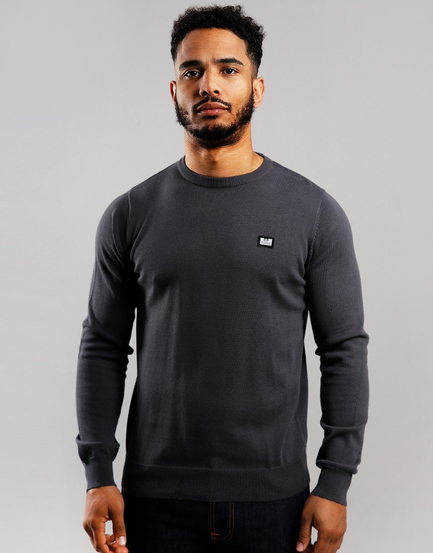 Weekend Offender Silver Crew Knit Charcoal
