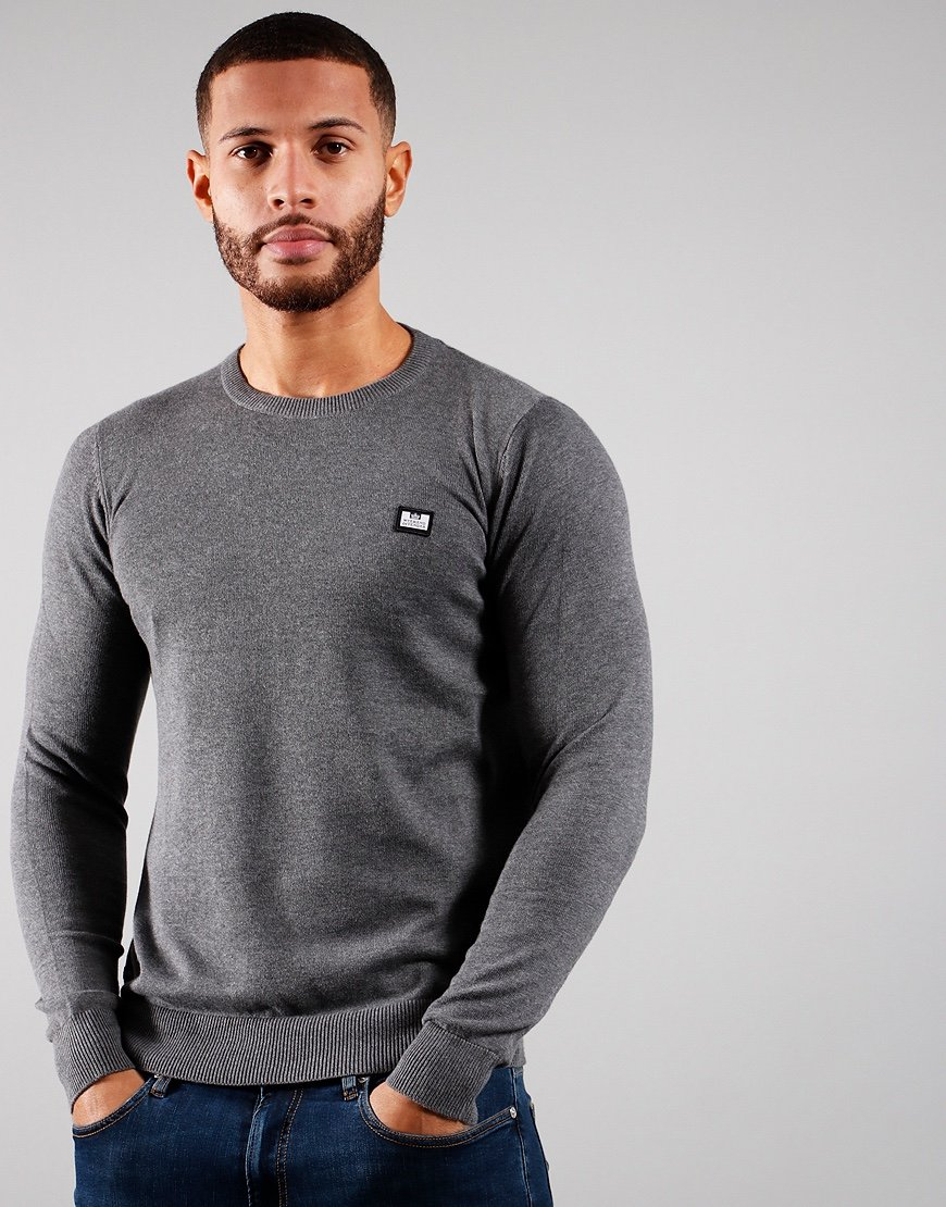 Weekend Offender Silver Knitted Jumper Dark Grey Melange
