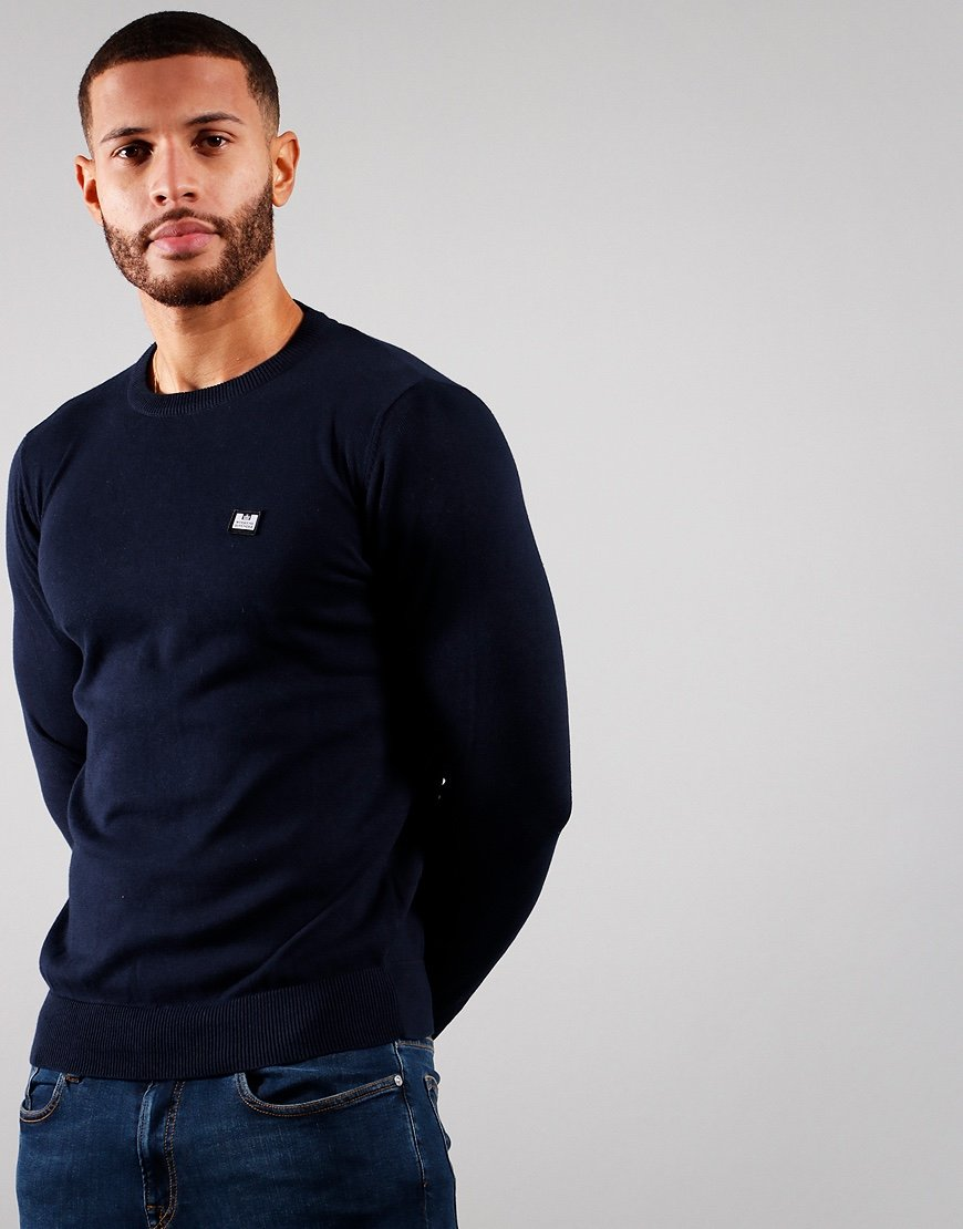 Weekend Offender Silver Knitted Jumper Navy