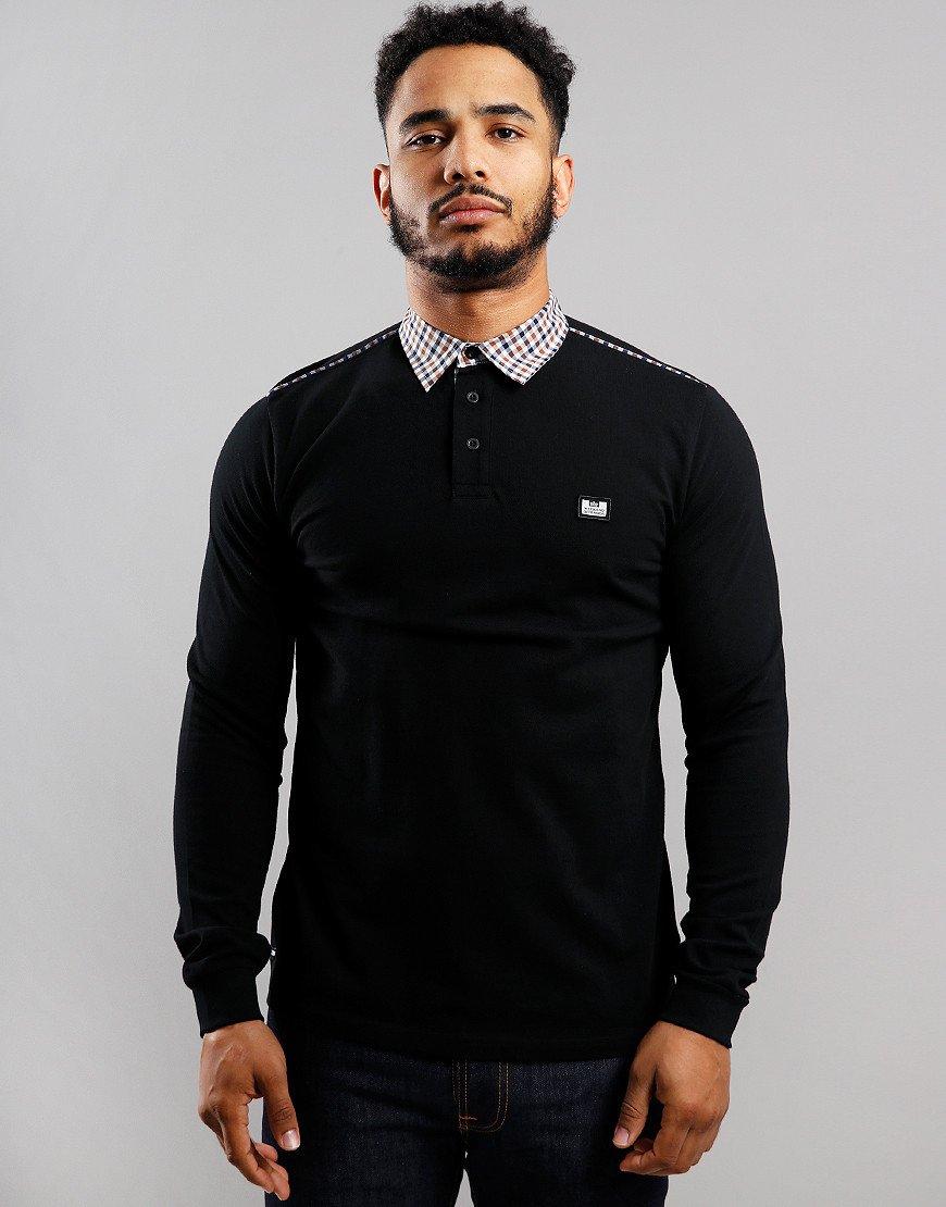 Weekend Offender Jasper Long Sleeve Polo Shirt Black