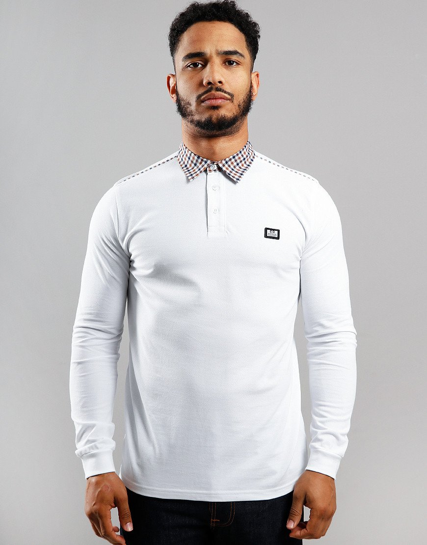 Weekend Offender Jasper Long Sleeve Polo Shirt White