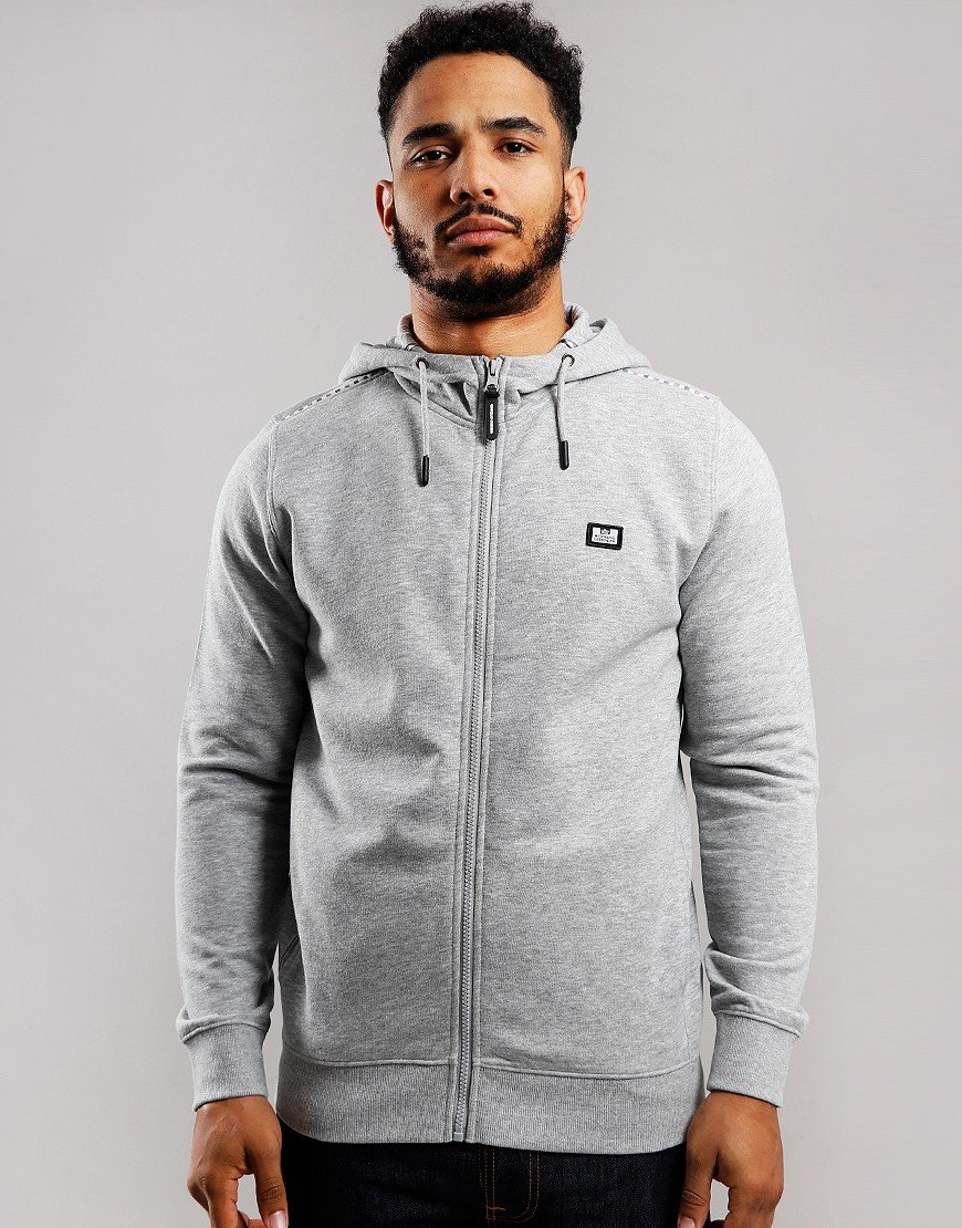 Weekend Offender Sodium Full Zip Hoodie Grey Heather