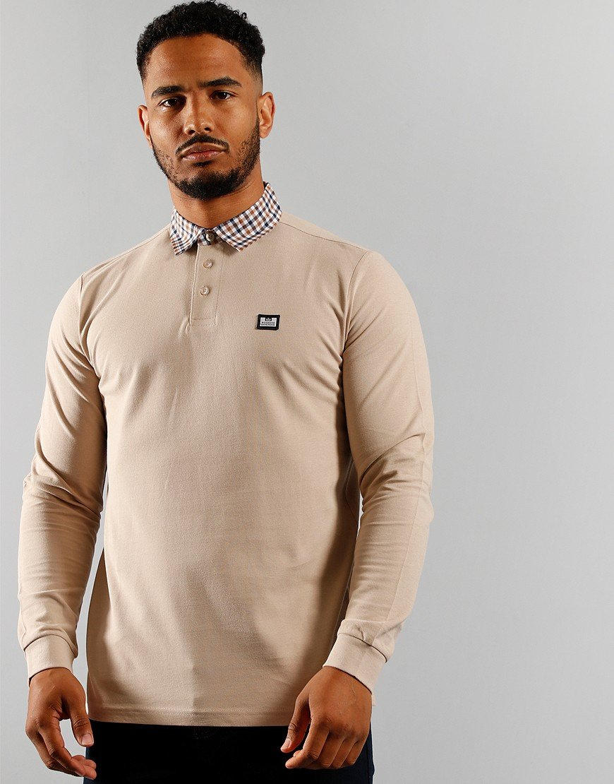 Weekend Offender Tantalum Long Sleeve Polo Sand