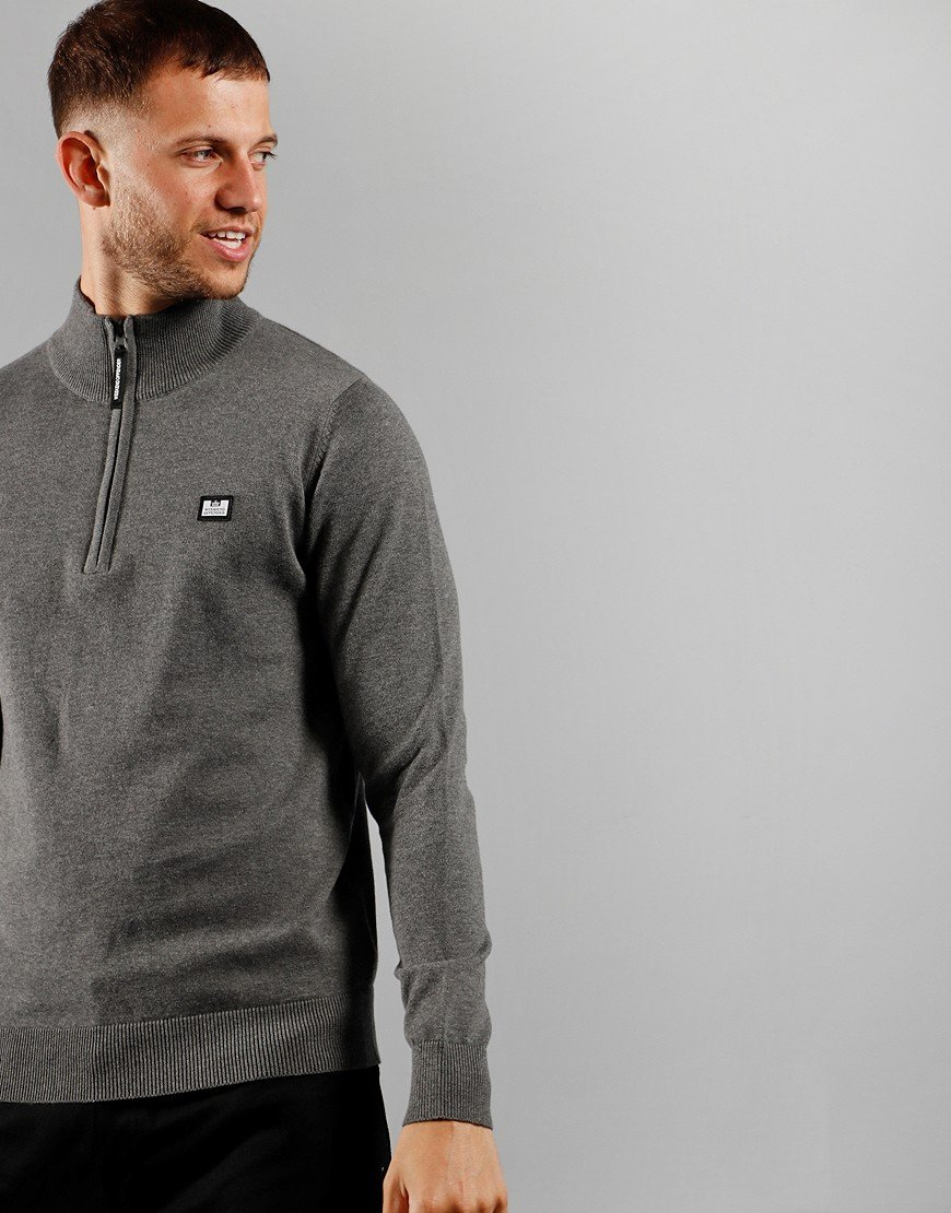 Weekend Offender Vandium Half Zip Knit Dark Grey Melange