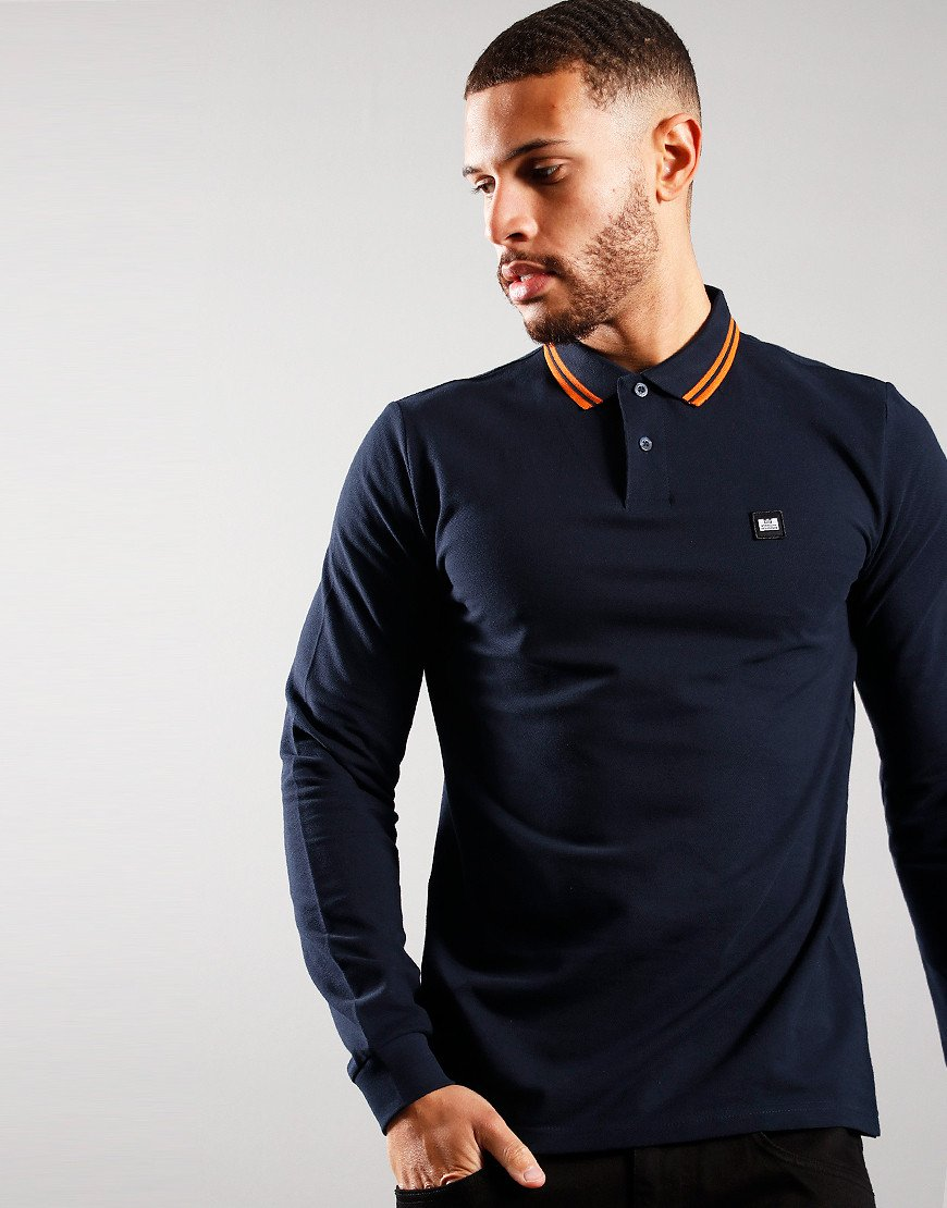 Weekend Offender Castles Long Sleeve Polo Shirt Navy