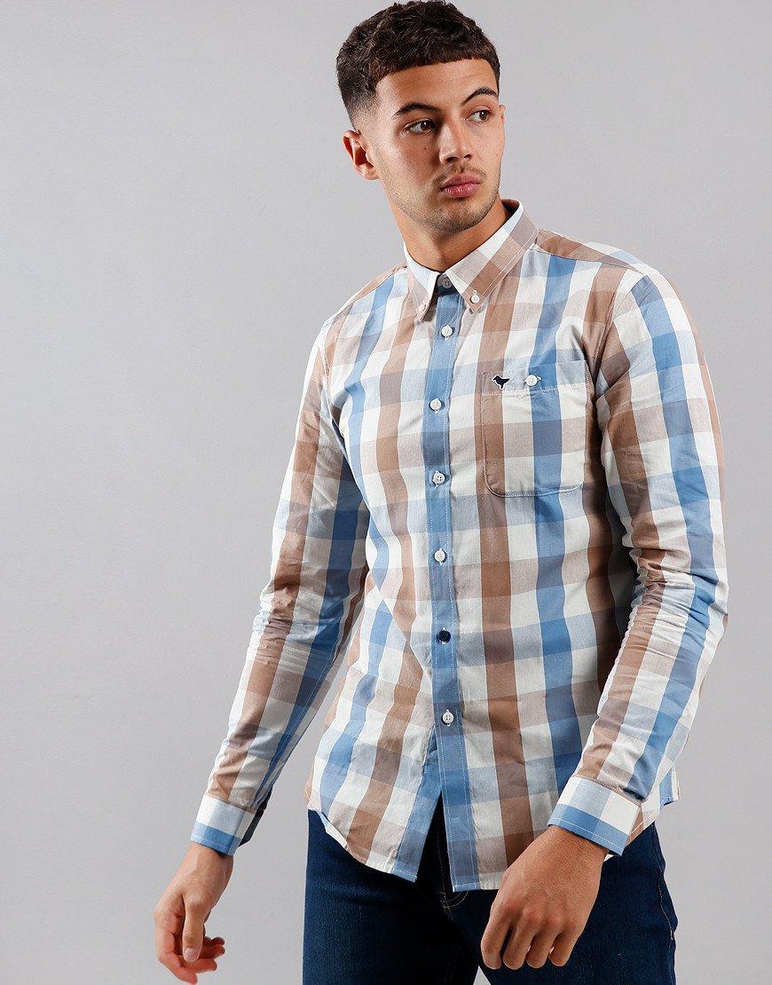 Weekend Offender Liam Long Sleeve Shirt Tan Check