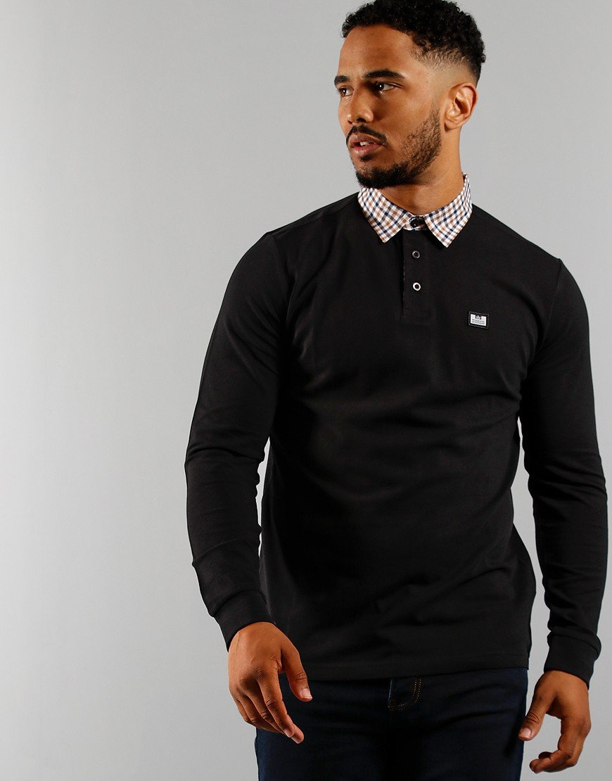 Weekend Offender Tantalum Long Sleeve Polo Black