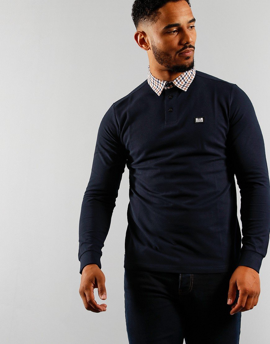 Weekend Offender Tantalum Long Sleeve Polo Navy