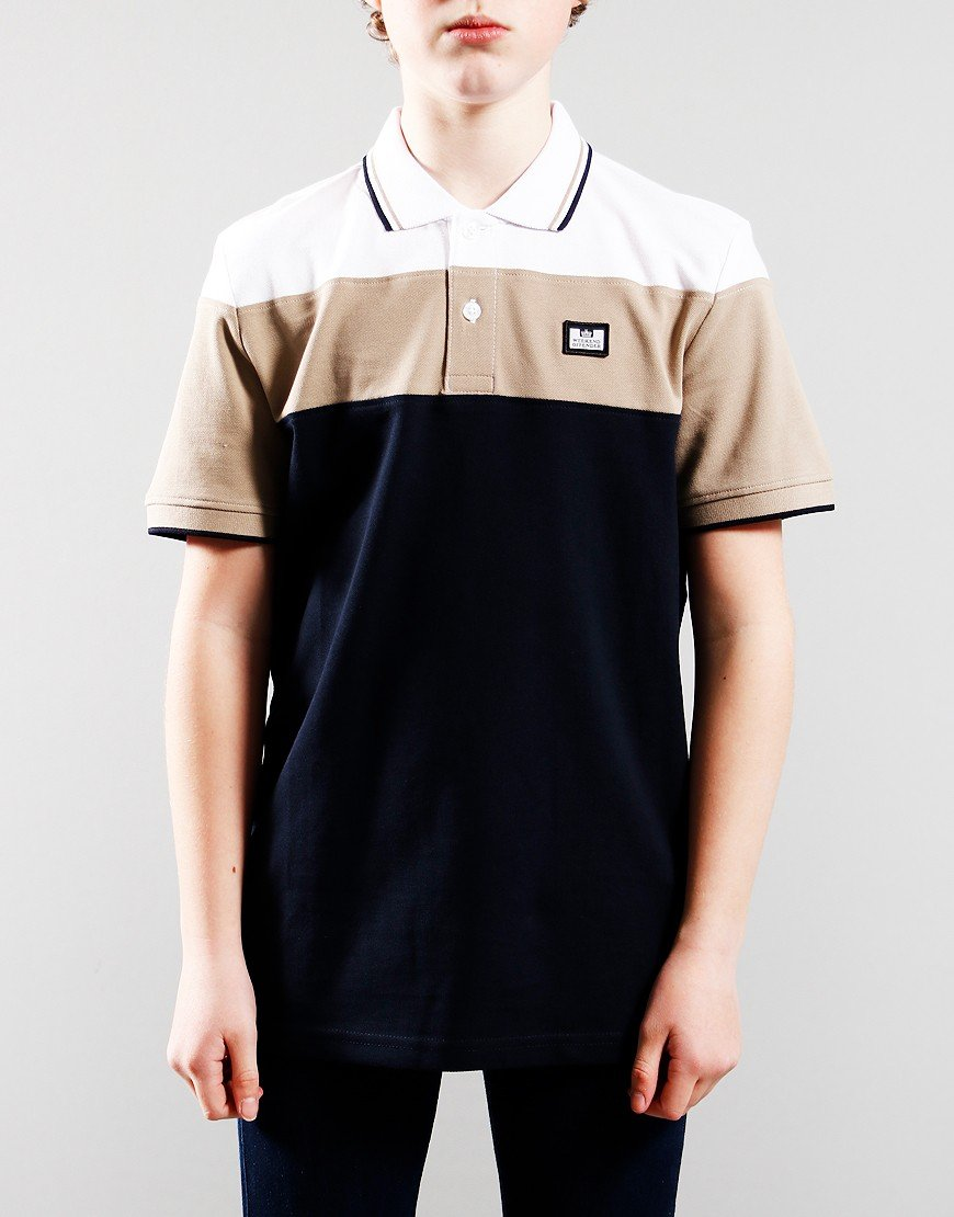 Weekend Offender Kids Kiki Polo Shirts Navy/Stone/White