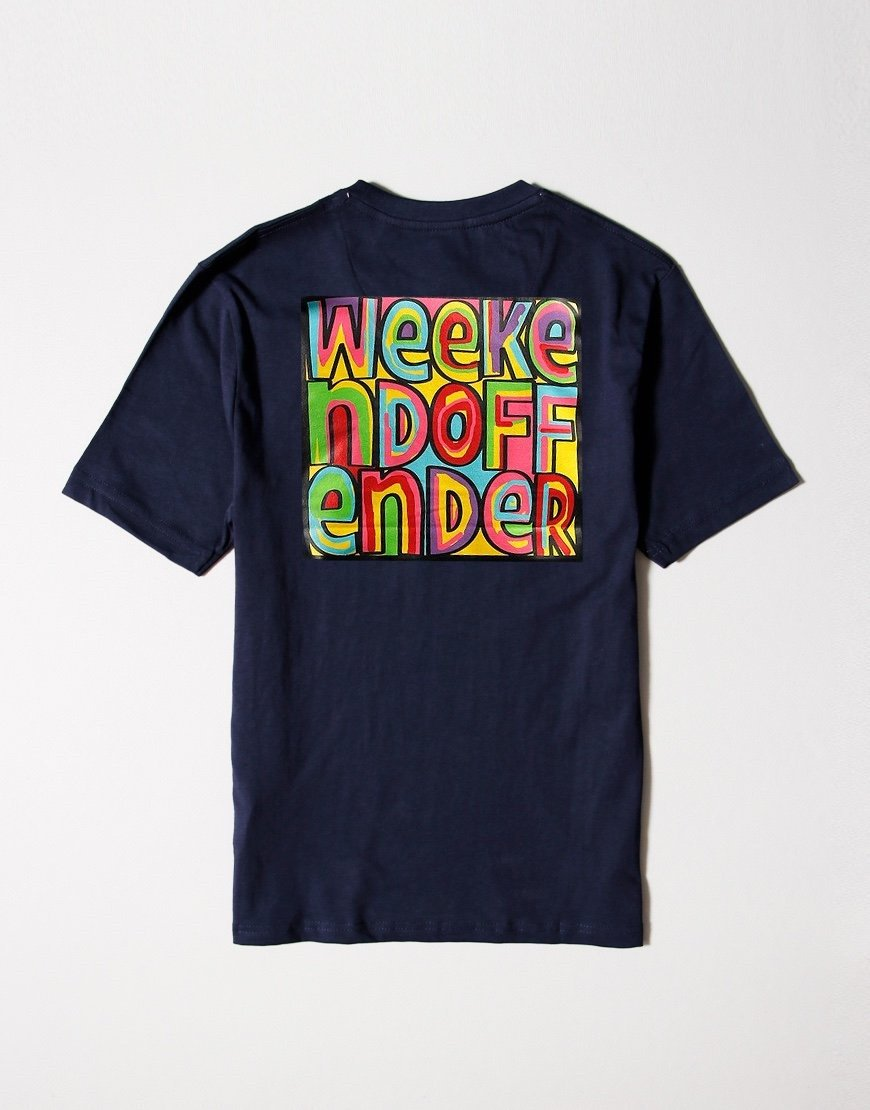 Weekend Offender Kids Mad Cyril Back Print T-Shirt Navy