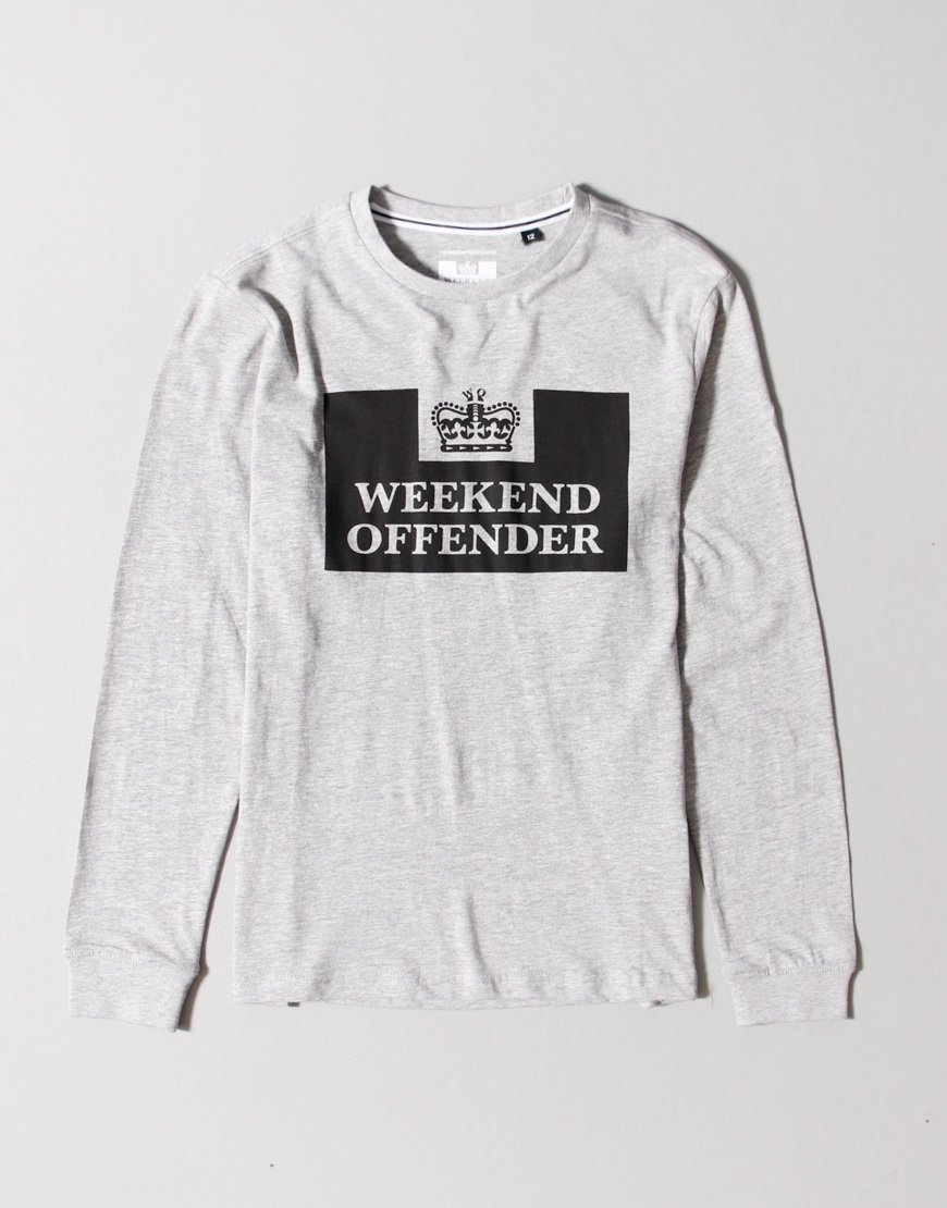 Weekend Offender Kids Prison Long Sleeve T-shirt Grey