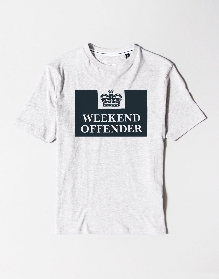 Weekend Offender Kids Prison T-Shirt Grey
