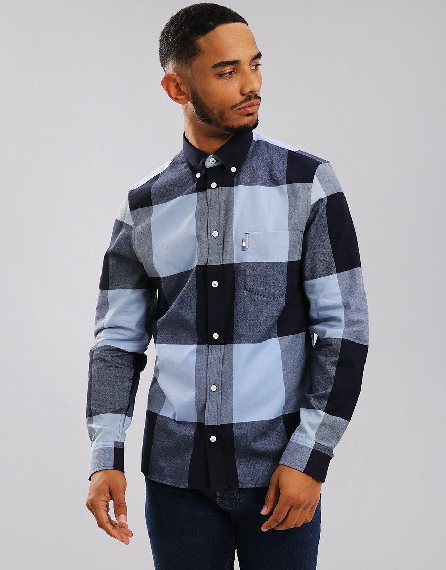 Aquascutum Gunn Long Sleeve Club Check Shirt Slate Blue