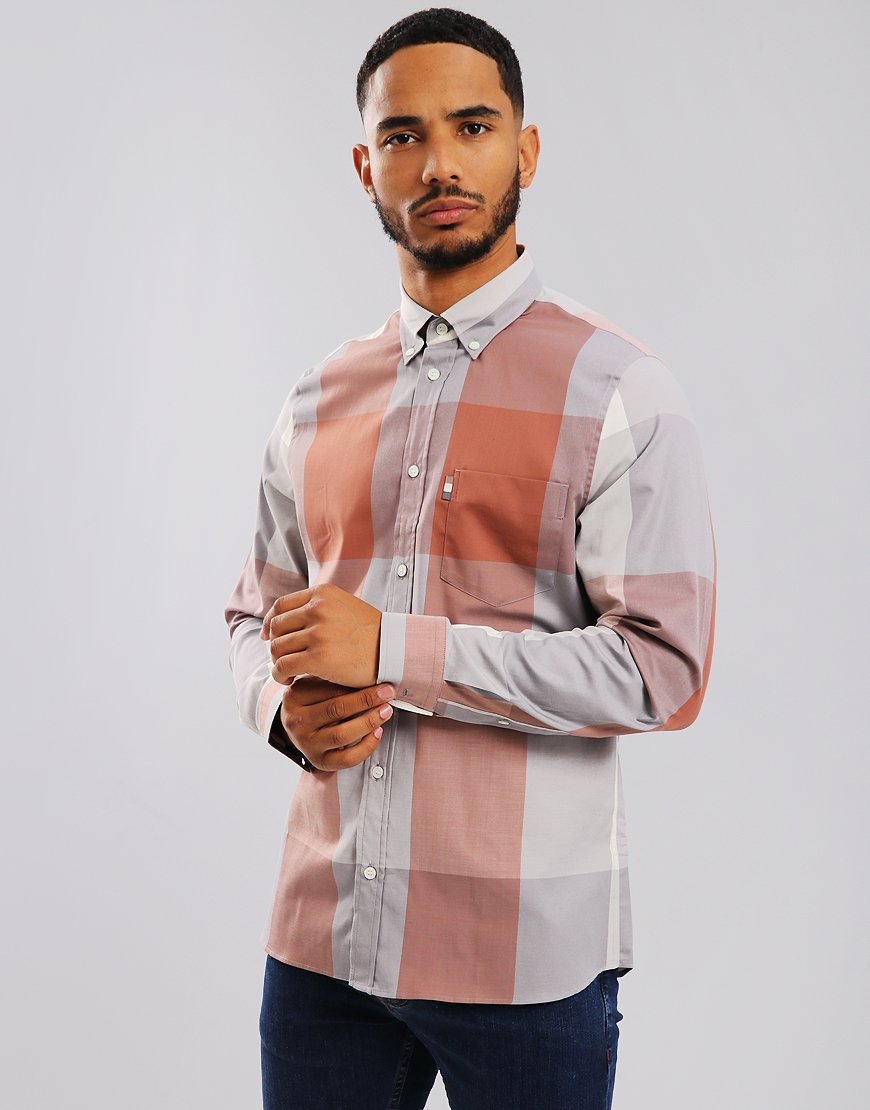 Aquascutum Henlake Long Sleeve Check Shirt Russet Red