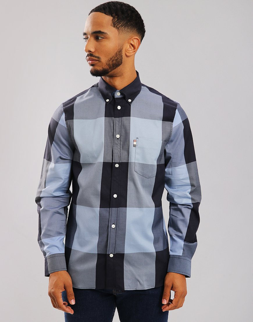 Aquascutum Henlake Long Sleeve Check Shirt Slate Blue