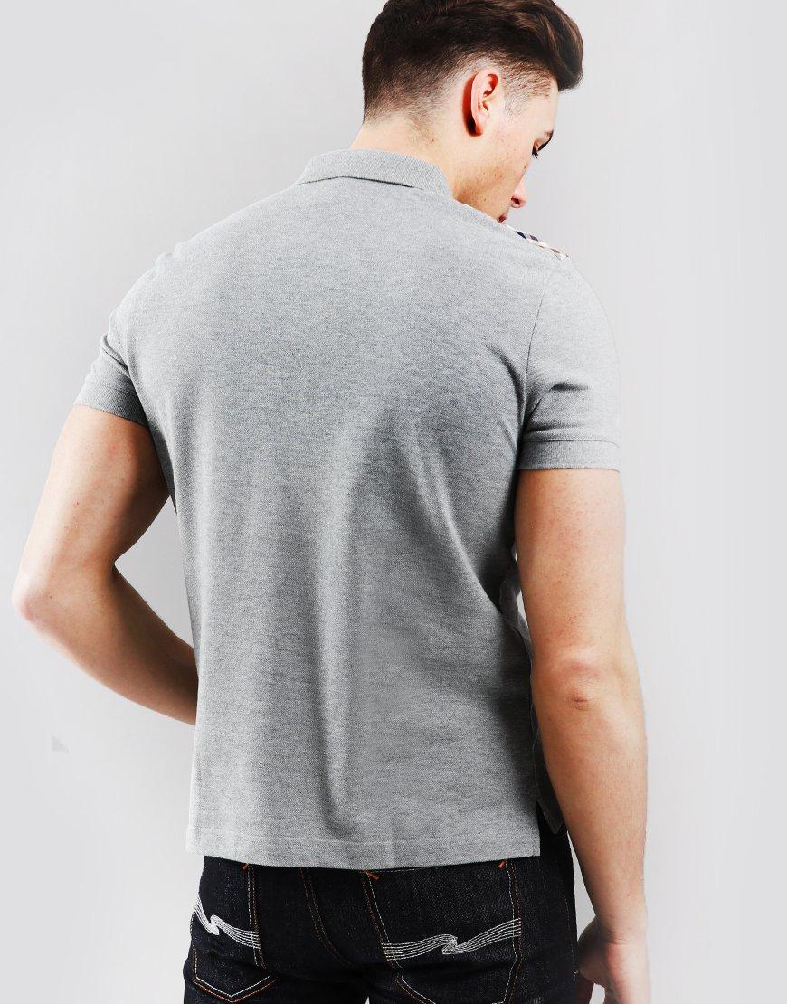 Aquascutum Hill Club Check Polo Shirt Grey