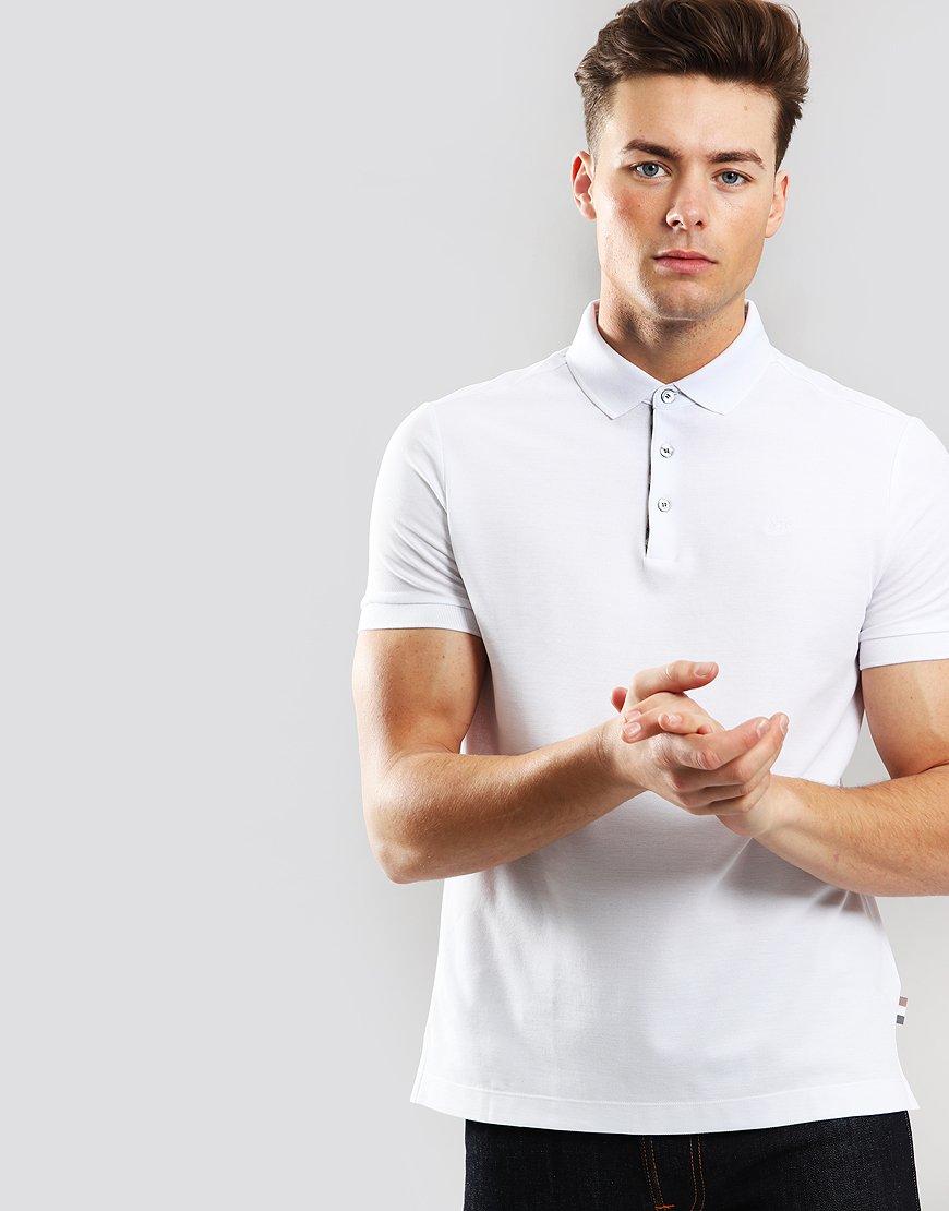 Aquascutum Hillington Polo Shirt With Check Placket White