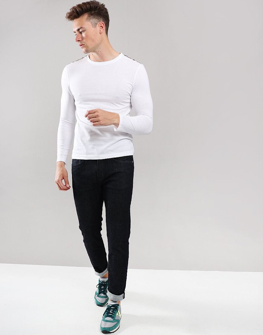 Aquascutum Southport Club Check Trim Long Sleeve T-Shirt White