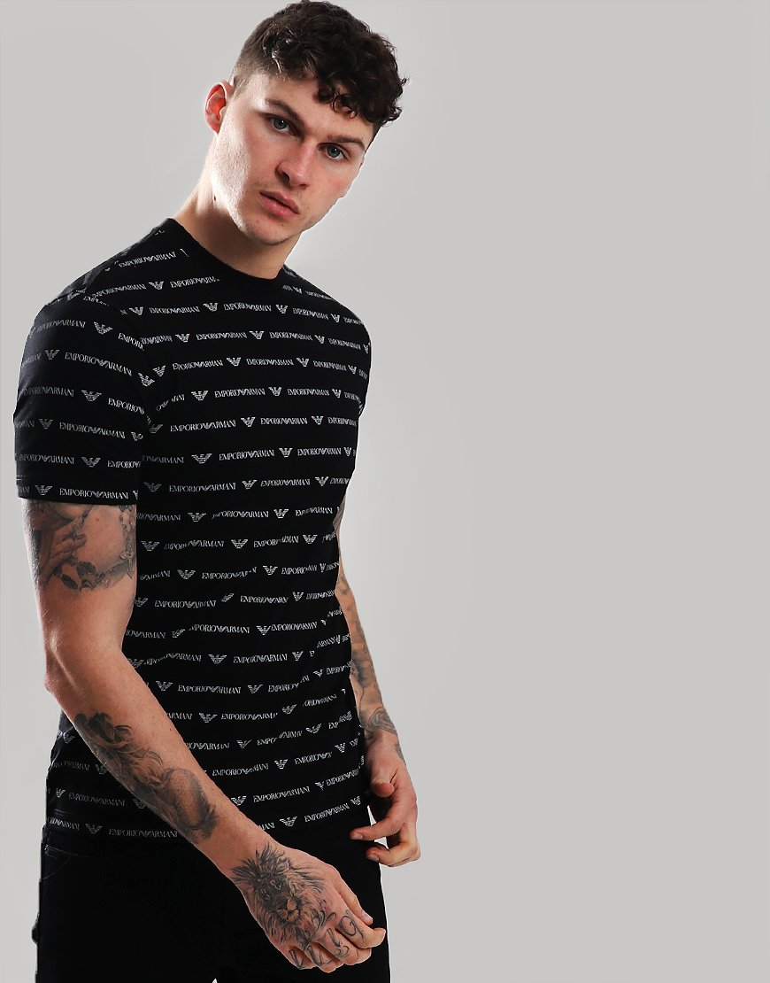 Emporio Armani All Over Print T-Shirt Black