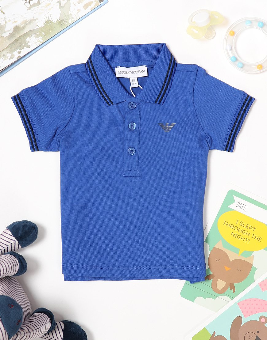 Armani Baby Tipped Polo Shirt China Blue