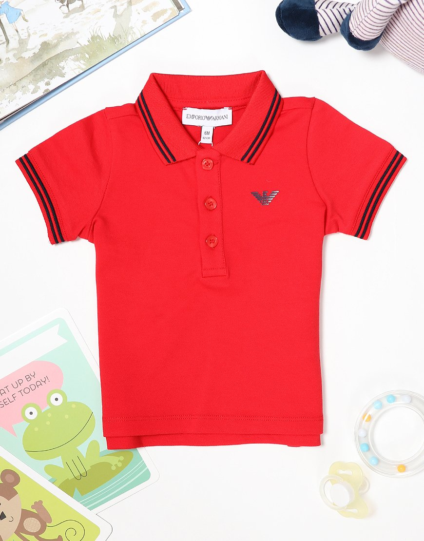 Armani Baby Tipped Polo Shirt Red