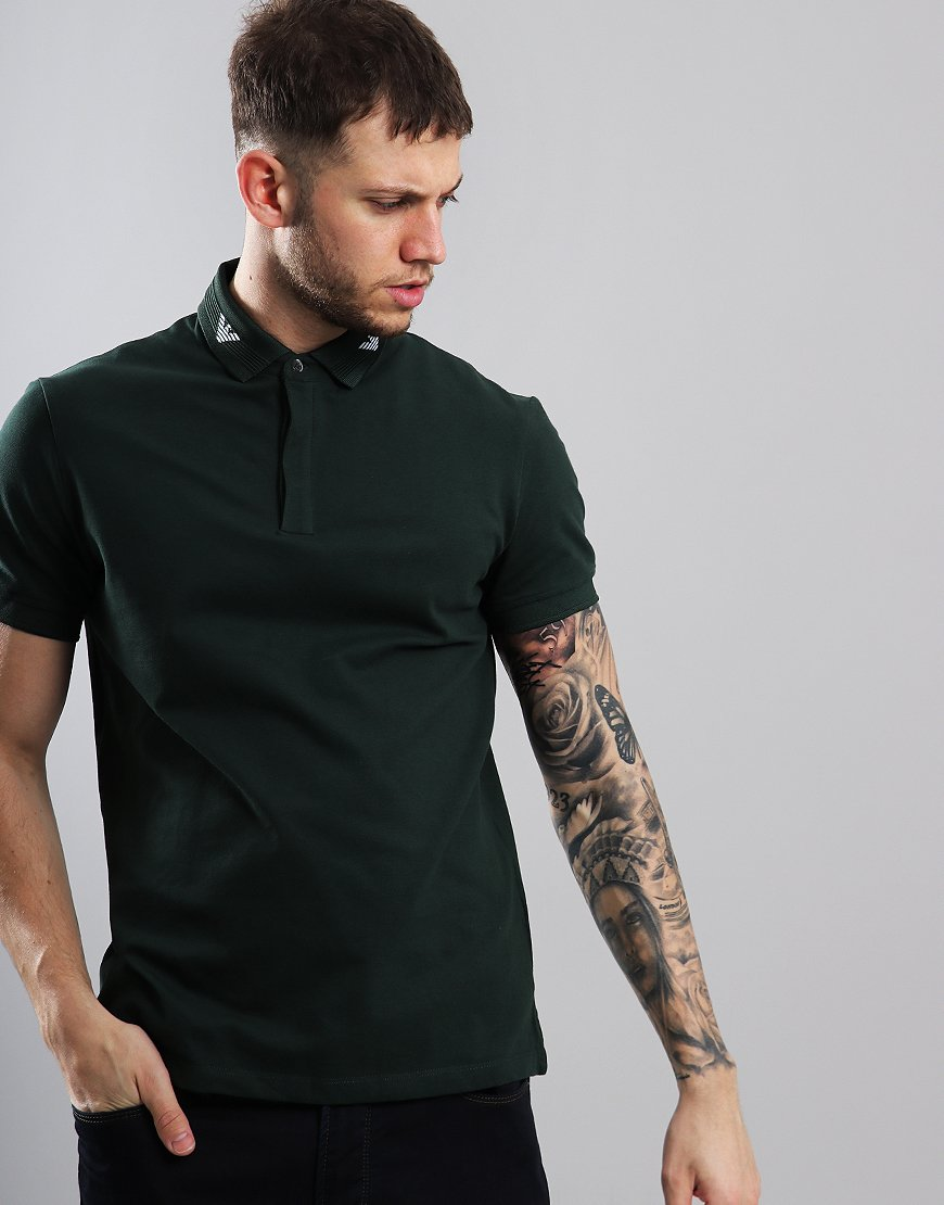 Emporio Armani Eagle Collar Polo Shirt Dark Green