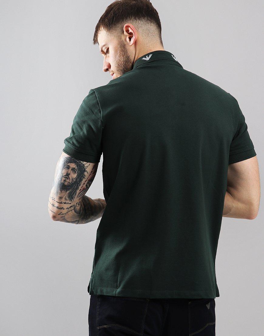 Armani Terraces Green Collar Dark Shirt Menswear Eagle Emporio Polo WED29HI