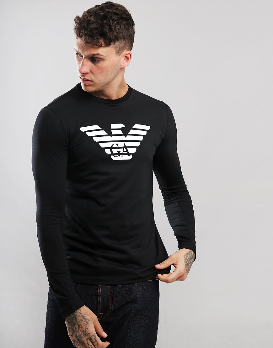 Emporio Armani Long Sleeved Eagle T-Shirt Black