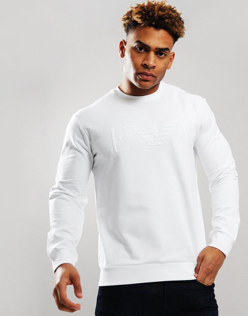 Emporio Armani Embossed Logo Sweat White