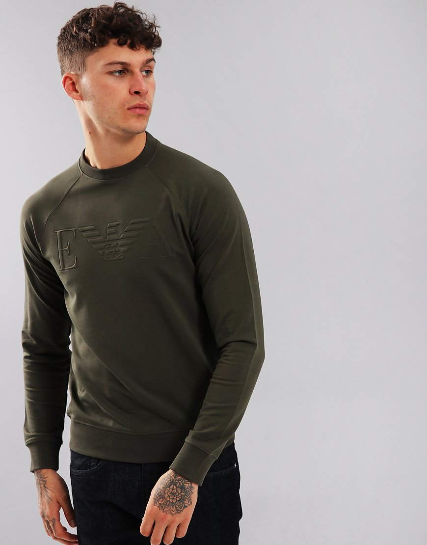 Emporio Armani Stretch Cotton Logo Sweatshirt Green